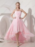 Baby Pink Chiffon High Low Lovely Girls Wear Cocktail Formal Dress Pearl Decorate Sash