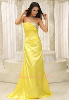 Rape Flowers Kelly Yellow Simulation Silk Gathering Prom Dress Sweep Train Graceful