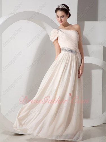 Light Pearl Champagne Allure Mother Formal Gowns One Shoulder Strap With Cap Sleeve