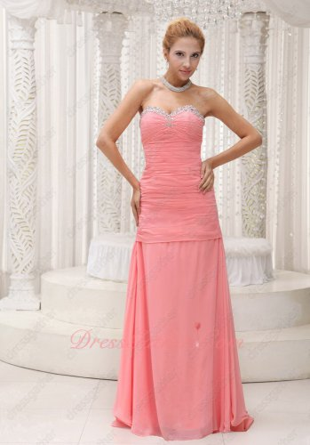 Elegant Sweetheart Watermelon Chiffon Suitable Formal Occasion Prom Attire