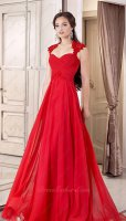 Memorable Cap Sleeves Empire Waist Lady Red Svelte Dress For Engagement