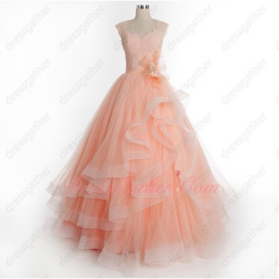 Bateau Neck Brisk Blush Puffy Host Prom Dress With Elastic Warped Hemline