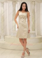 Square Knee-length Champagne Satin Senior Homecoming Dress Bowknot Decorate Chest