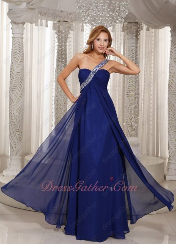 Approachable Silver Beaded Strap Empire Royal Blue Formal Gowns Fellows and Friends