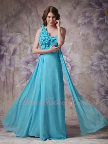 Single Strap Aqua University Fellow Formal Dress With Handmade Flowers Decorate Blouse