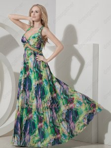 Summer Lifestyles/Beach Hawaii Print Chiffon Cross Back Cocktail Prom Dress Different
