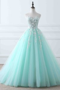 Designer Sweetheart Neck Ice Blue and Off White Prom Ball Gown With 3D Flowers Decorate