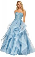 Floor Length Strapless Lace Appliqued Mermaid Dress with Ruffled Horsehair Organza Skirt