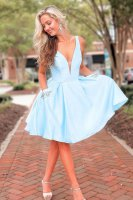 Lovely V Neck Baby Blue Homecoming Cocktail Dress With Side Beaded Pockets