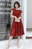 Round Neckline Cap Sleeves Tea Length Mother Of Bride Dress Red Lace