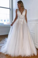 Sheer Waistline Nude Lining With Multilayers Tulle Prom Dress White Like Wedding Dress