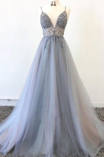 Graceful Spaghetti Straps Grey Mesh Sheer Waist Beaded Latest Prom Dress with Split