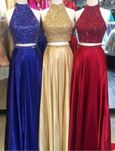 High Neck Rhinestone Bodice 2 Pieces Show Waist Designer Special Occasion Dress Prom Dress