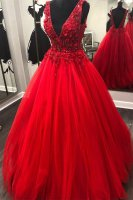 Magnificent Deep V Back Scarlet Tulle Evening Prom Gown With 3D Flowers