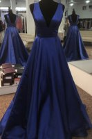 Beautiful V Neck Royal Blue Satin Formal Evening Gowns With Court Train
