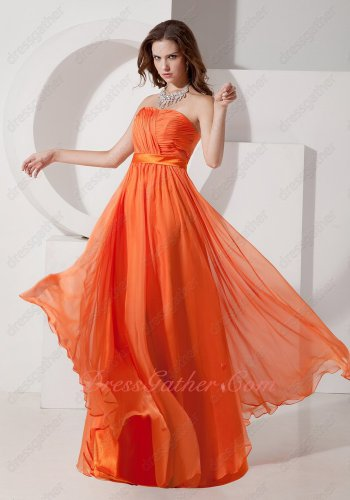 2019 Wedding Celebration Designer Sun Orange Chiffon Long Bridesmaid Dress Ebullient