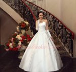 Simple Concise Appliques Waistline High Quality Satin Bridal Wedding Dress Bowknot Back