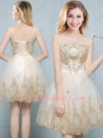 Transparent Neck Short Shiny Evening Dress With Gold Pineapple Pattern