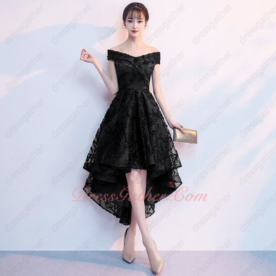 V-Neck Black Lace High Low Design Prom Dress For Annual Dinner