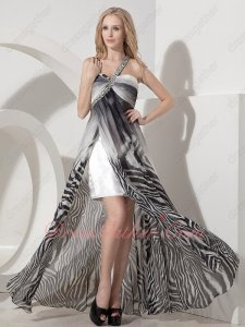 Print Black and White Stripes Zebra Chiffon Cocktail Prom Dress Opening Skirt