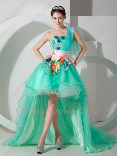 Nifty One Shoulder High-Low Spring Green Princess Gown With Multicolor 3D Flowers
