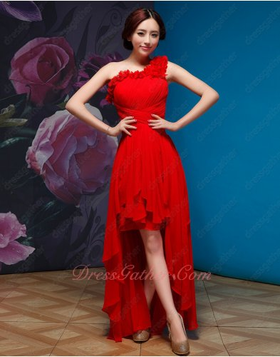 Single Rosette Straps Red Cross Ruched Homecoming Dress With Irregular Hemline