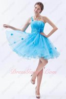 Clearance Single Right Shoulder Auqa Blue Organza Gathering Essentials Prom Dress