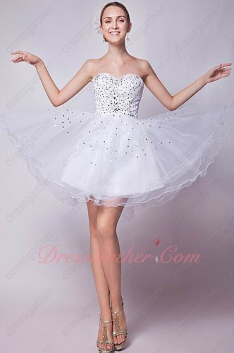 Discount Sweetheart White Mesh/Tulle Knee Length Daughters Prom Dress Stage Show