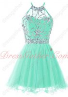 Endearing Halter Top Beading Bodice Mint Tulle Dancers Partner Short Dress