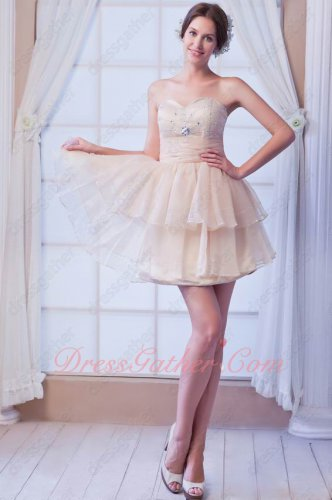 Champagne Organza Layers Puff Skirt Girl's First Short Prom Dresses Featured