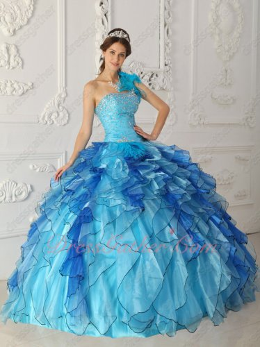 One Shoulder Aqua Blue Quinceanera Ball Gown Mingled With Royal Ruffles