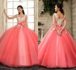 Graceful Champagne With Watermelon Puffy Quinceanera Evening Ball Gown With 3D Florets
