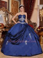 Promotion Navy Blue Puffy Floor Length Military Ball Gown With Embroidery