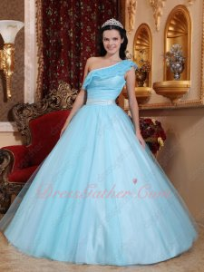 Trimed Princess A-line One Shoulder Baby Blue Evening Stage Choreography Ball Gown