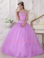 New Style Lilac Trimed Many Layers Tulle Prom Quinceanera Ball Gown UK