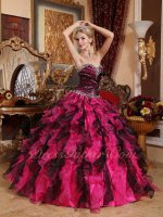 Black and Hot Pink Mixed Thickset Ruffles Good Looking Quinceanera Ball Gown Female