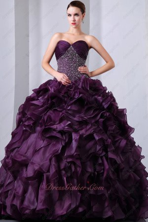 Grape Purple Ruffles Beadwork Dropped Waist Bodice Quinceanera Dresses Gowns Military