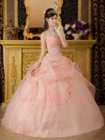 Springtime Peach Organza Ball Gown Ready Wear to Quinceanera Party Embroidery
