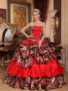 Unique Printed Deer Leopard Fabric and Red Quinceanera Ball Gown Winter