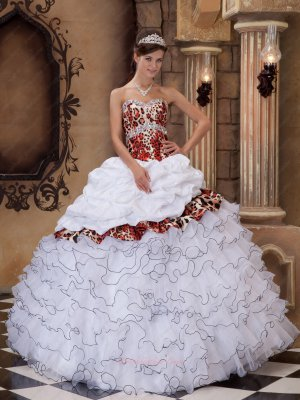 White With Leopard Cascade Skirt Quinceanera Dress With Taffeta Overlay Cover