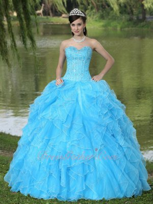 Full Beading Lines Bodice Serried Ruffles Pretty Quince Ball Gown Online Store