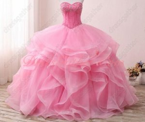 Hot Pink Organza Elastic Horsehair Ruffles Sweetheart Puffy Ball Gown Quinceanera