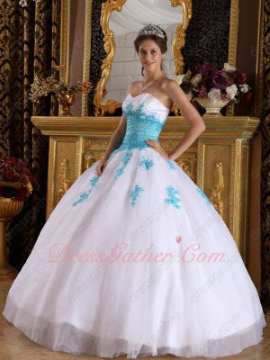 Princess Sweetheart Pure White Organza Quinceanera Dress With Aqua Blue Applique