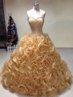 Curly Ruffles Edging Shiny Gold Organza Skirt Fair Quinceanera Ball Gown Pretty