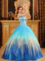 Aqua Blue/Champagne/Royal Blue Three Layers Contrast Design Quinceanera Ball Gown
