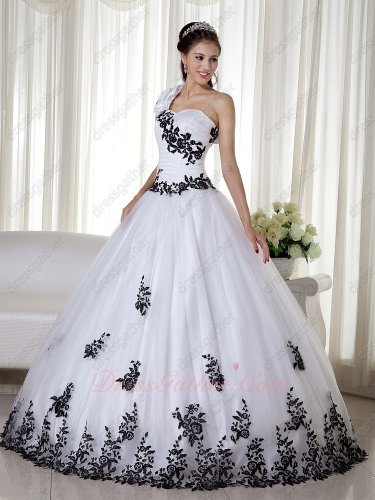 One Shoulder White Mesh Quinceanera Party Ball Gown With Black Leaves Embroidery