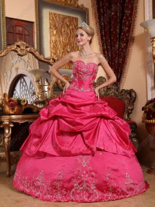 Special Price Fuchsia Taffeta Half Bubble Half Embroidery Skirt Quinceanera Dress