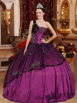 Cheap Quince Ball Gown Bright Mauve Purple Taffeta With Black Tulle Overlay
