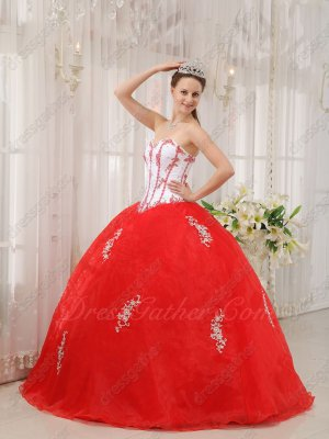 V-Shaped Waist Basque Appliques Styles For Quince Ball Gown White Bodice/Red Skirt