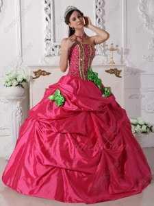 Cheap Quince Gown Deep Hot Pink Beaded Bodice With Spring Green Lines/Handwork Flowers